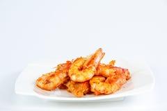 Fried shrimp. Isolated on white background Royalty Free Stock Images