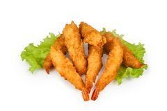 fried shrimp isolated on white background with clipping path royalty free stock photos