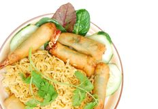 Fried shrimp noodle plate Royalty Free Stock Photo