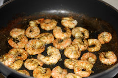 Fried shrimp in a pan Royalty Free Stock Image