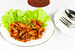 Fried shrimp paste. Shrimp marinated with chili and spices fried with palm oil Stock Photos