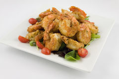Fried Shrimp plate Royalty Free Stock Images