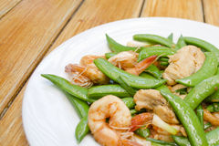 Fried Shrimp, Pork And Sweet Peas. Stock Images