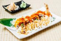 Fried shrimp or prawn tempura sushi Royalty Free Stock Images