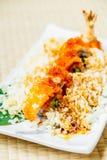 Fried shrimp or prawn tempura sushi Stock Photos