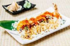 Fried shrimp or prawn tempura sushi Royalty Free Stock Photos