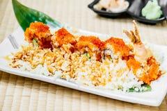 Fried shrimp or prawn tempura sushi Royalty Free Stock Photography