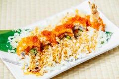 Fried shrimp or prawn tempura sushi Stock Image