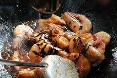 Fried Shrimp profundo con las salsas especiales Imagen de archivo