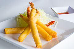 Fried shrimp rolls Stock Images