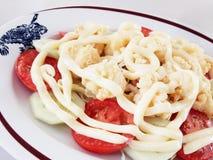 Fried shrimp with salad cream Stock Photos