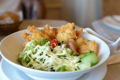 Fried Shrimp with salad and mayonnaise Stock Images