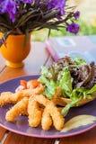 Fried shrimp salad Royalty Free Stock Images