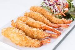 Fried shrimp with salad Stock Photo