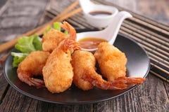 Fried shrimp and sauce Royalty Free Stock Photos