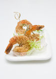 Fried shrimp with sesame seeds. Various snacks Stock Photo