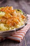 Fried shrimp on skewers Royalty Free Stock Images
