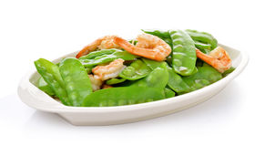 Fried Shrimp With Snow Peas. Food ,Health Stock Photography