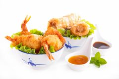 Fried shrimp and spring roll Stock Photos