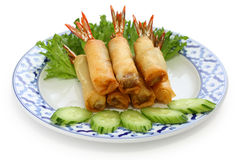Fried shrimp spring rolls, thai cuisine Stock Photography