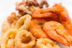 Fried shrimp squid. Close up fried shrimp squid Calamari Italian food Royalty Free Stock Image