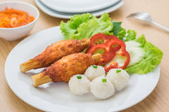 Fried shrimp with sugar cane and noodles, Vietnamese food Royalty Free Stock Image