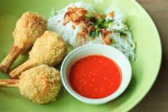 Fried shrimp with sugarcane and chilli sauce Royalty Free Stock Photography