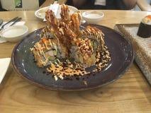 Fried shrimp Sushi maki set royalty free stock photos