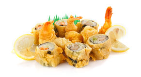 Fried shrimp with sushi roll Stock Images