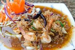 Fried shrimp with tamarind sauce. Stock Photo