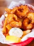 Fried Shrimp and Tartar Sauce stock photo