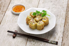 Fried shrimp tofu skin rolls Stock Photos