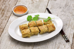 Fried shrimp tofu skin rolls Stock Images