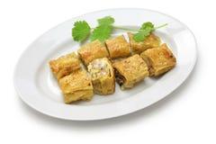 Fried shrimp tofu skin rolls Stock Photo