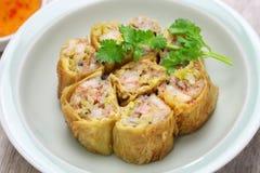 Fried shrimp tofu skin rolls royalty free stock images