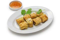 Fried shrimp tofu skin rolls Stock Photography