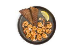 Fried shrimp.  white background. Stock Photos