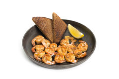Fried shrimp.  white background. Royalty Free Stock Images