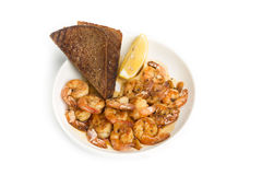 Fried shrimp.  white background. Stock Images