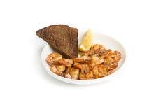 Fried shrimp.  white background. Royalty Free Stock Photography