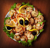 Fried shrimp on white plate in resturant stock photos