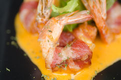 Fried Shrimp Wrapped With Bacon Stock Photography