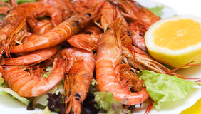 Fried shrimps. With a lemon and salad leaves Stock Photography