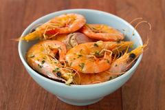 Fried shrimps in bowl Stock Photo