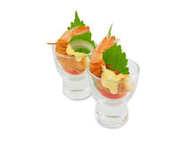 Fried shrimps with Chinese vermicelli and Mayonnaise Royalty Free Stock Images