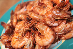 Fried shrimps on dish Stock Image