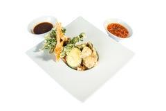 Fried Shrimps e zucca con salsa fotografie stock