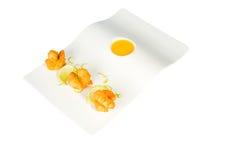 Fried Shrimps e zucca con salsa immagine stock libera da diritti