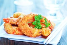 Fried shrimps Stock Images