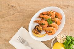fried shrimps with garlic Royalty Free Stock Images